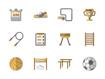 School sports equipment flat color icons. Set of flat style colored icons for sports equipment. Objects of fitness, gym and physical culture. Elements of web Stock Photo