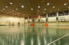 School Sports Hall. Basketball boards and gate Stock Images