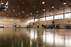 School Sports Hall. Korfball, Basketball boards and gate. With ghostly Korfball players Stock Photography