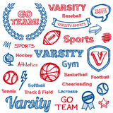 School sports hand-drawn elements. Set of hand drawn school sports text lettering and icons Stock Photo