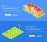 School Stadium and Educational Establishment 3D. School stadium and educational establishment three dimensional vector illustration with basketball field and Stock Photography