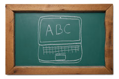 School start abc laptop on chalkboard Stock Image