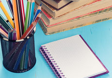 School stationary. Closeup. Education concept Royalty Free Stock Photography