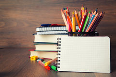 School stationary. With copy space stock photography