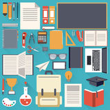 School stationary flat design object Stock Images