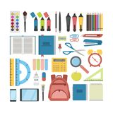 School stationary set. Pens and rulers, books and backpack Stock Photos