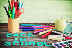 School stationary. On wooden table Stock Photo