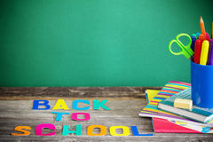 School stationary. On wooden table Stock Image