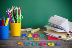 School stationary. On wooden table Royalty Free Stock Photography