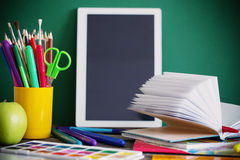 School stationary. On wooden table Stock Photography
