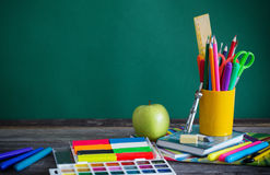 School stationary on wooden table Stock Images