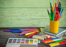 School stationary on wooden table Royalty Free Stock Photography