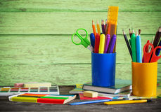 School stationary on wooden table Stock Photos