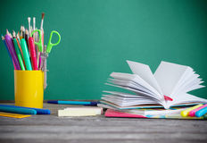 School stationary on wooden table Royalty Free Stock Images