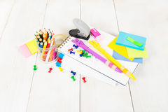 School stationary on the wooden table Stock Photography
