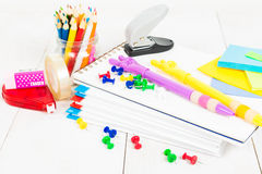School stationary on the wooden table Royalty Free Stock Photo
