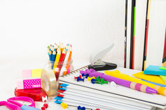 School stationary on the wooden table Stock Photo
