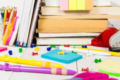 School stationary on the wooden table Royalty Free Stock Photos