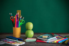 School stationary on wooden table Royalty Free Stock Photo