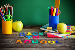 School stationary on wooden table Royalty Free Stock Photos