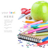 School stationery. Isolated over white with copyspace Royalty Free Stock Photos
