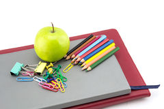 School stationery and apple green Stock Photo