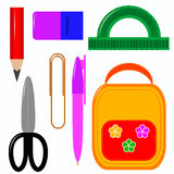 School Stationery for boys and girls. Different colored stationery for your design Royalty Free Stock Photography