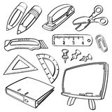 School stationery collection. A collection of different kinds of school stationery in sketch style. It contains hi-res JPG, PDF and Illustrator 9 files Royalty Free Stock Images