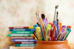 School stationery on a colored background Stock Photo