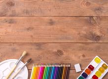 School stationery with copyspace Stock Image