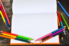 School stationery frame on wooden background-2. School stationery Stock Images