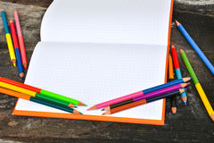 School stationery frame on wooden background-3. School stationery Stock Photo