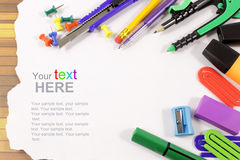 School stationery framework Stock Image