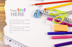 School stationery framework Royalty Free Stock Photo