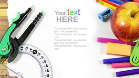 School stationery framework Royalty Free Stock Photos