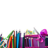 School stationery in a heap, bottom frame stock image