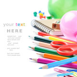 School stationery isolated over white Royalty Free Stock Image