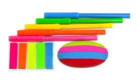 School stationery isolated over white background Stock Images