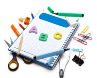 School stationery isolated over white background Stock Photography