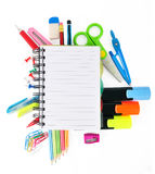 School stationery isolated over white Royalty Free Stock Images