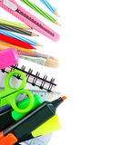 School stationery isolated over white Stock Images