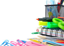 School stationery isolated over white Royalty Free Stock Photography