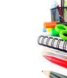 School stationery isolated over white Stock Image