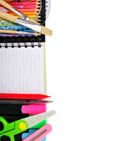 School stationery isolated over white Stock Photography