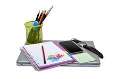 School Stationery Items with smartphone and laptop Stock Images