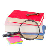 School stationery and looking glass Royalty Free Stock Photo