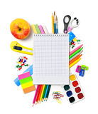 School stationery with notebook copyspace Royalty Free Stock Photo