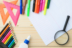 School stationery with notebook copyspace Stock Image