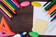 School stationery with notebook copyspace Stock Images
