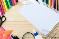 School stationery with notebook copyspace Stock Photography